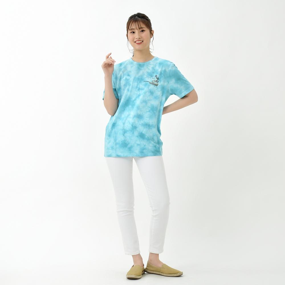 ミッキー&ミニー 半袖Tシャツ タイダイ染め Paradise Hawaiian