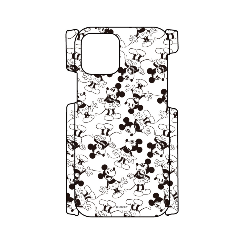 【D-Made】iPhoneケース 総柄 ミッキー モノクロ