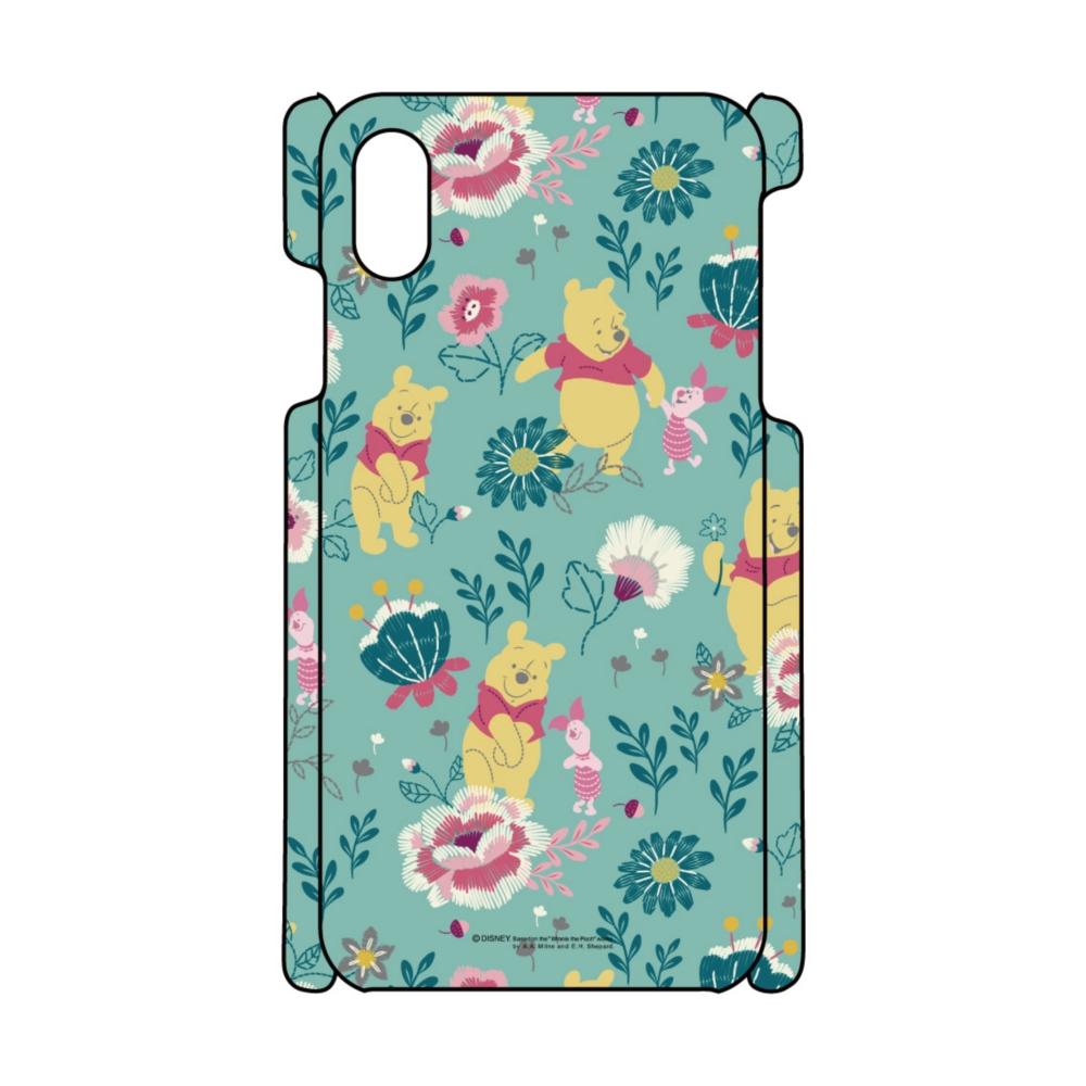 【D-Made】iPhoneケース 総柄 くまのプーさん プーさん&ピグレット 花グリーン