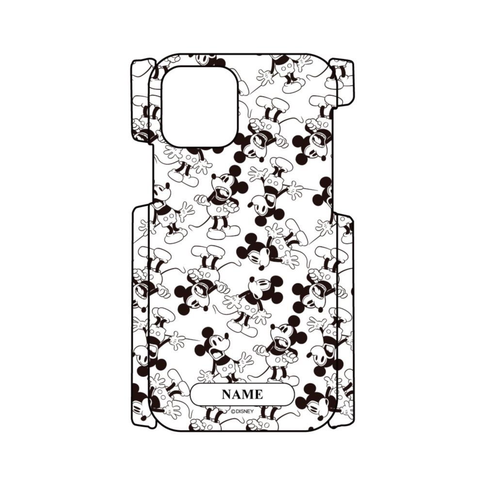 【D-Made】名入れ iPhoneケース 総柄 ミッキー モノクロ