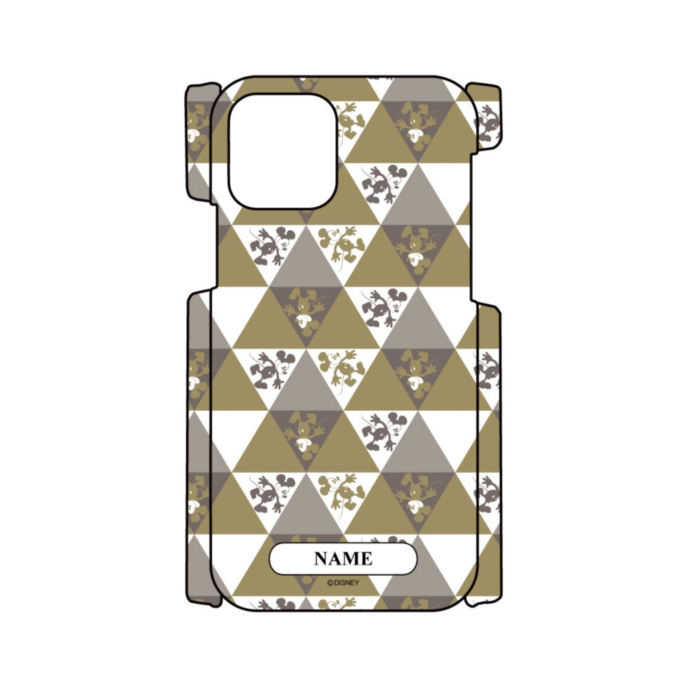 【D-Made】名入れ iPhoneケース 総柄 ミッキー 三角形パターン
