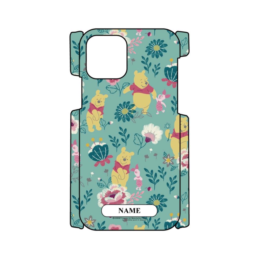 【D-Made】名入れ iPhoneケース 総柄 くまのプーさん プーさん&ピグレット 花グリーン