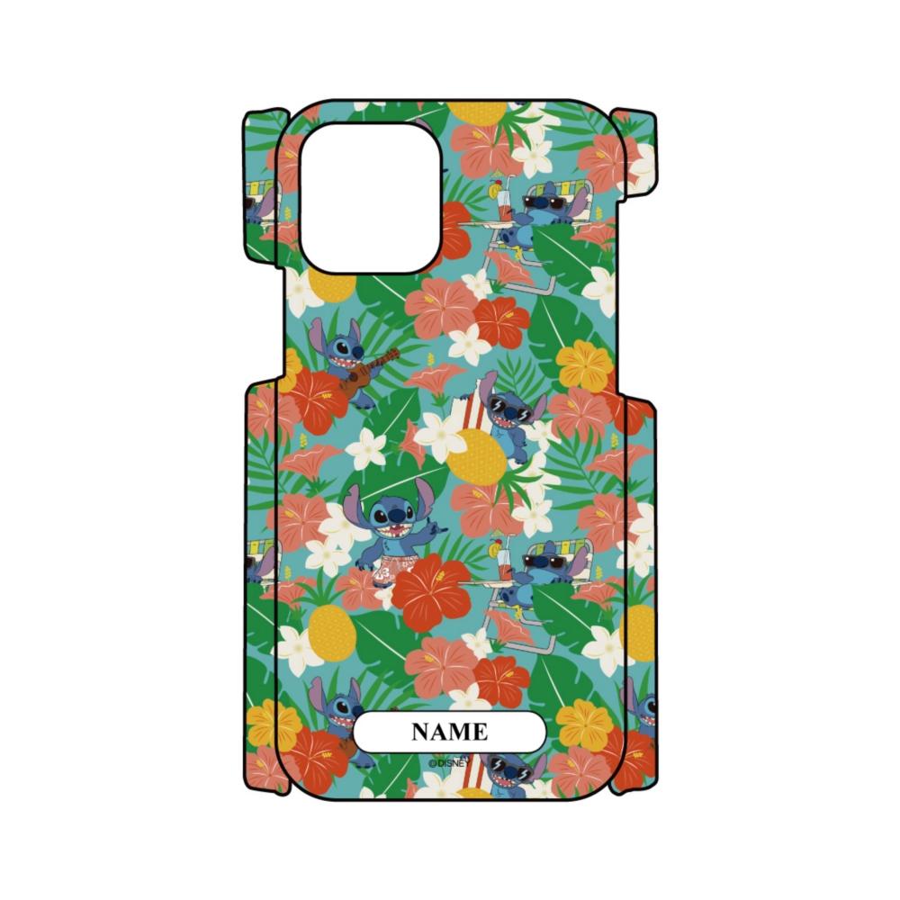 【D-Made】名入れ iPhoneケース 総柄 リロ&スティッチ スティッチ ハワイアン