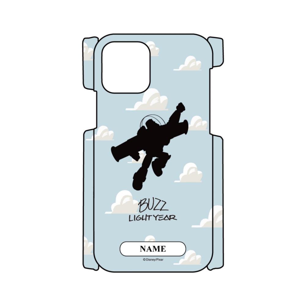 【D-Made】名入れ iPhoneケース 総柄 トイ・ストーリー バズ・ライトイヤー シルエット 雲柄