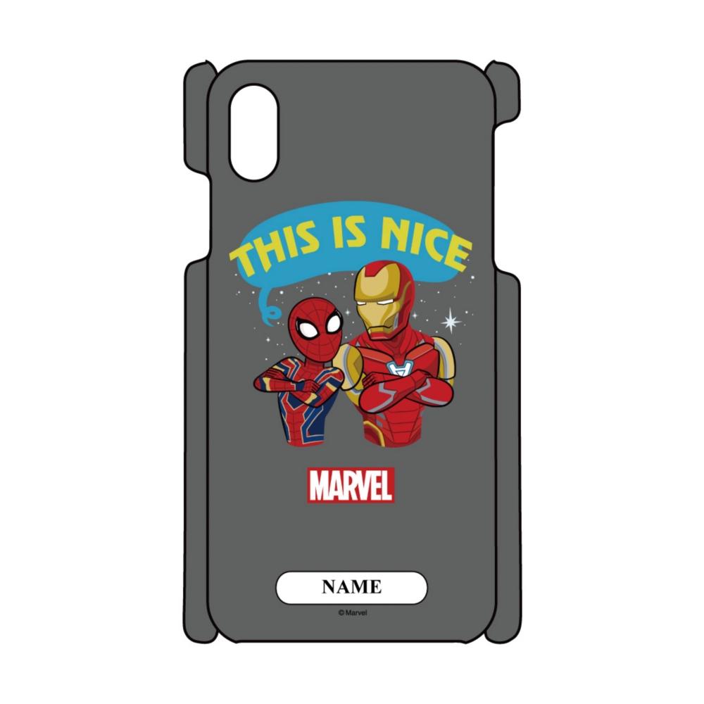 【D-Made】名入れ iPhoneケース MARVEL アイアンマン&スパイダーマン This is nice