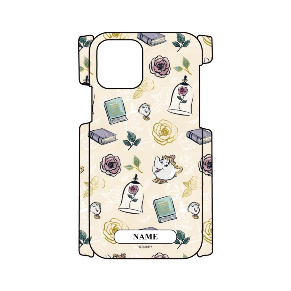 【D-Made】名入れ iPhoneケース 総柄 美女と野獣 ポット夫人&チップ 魔法のバラ