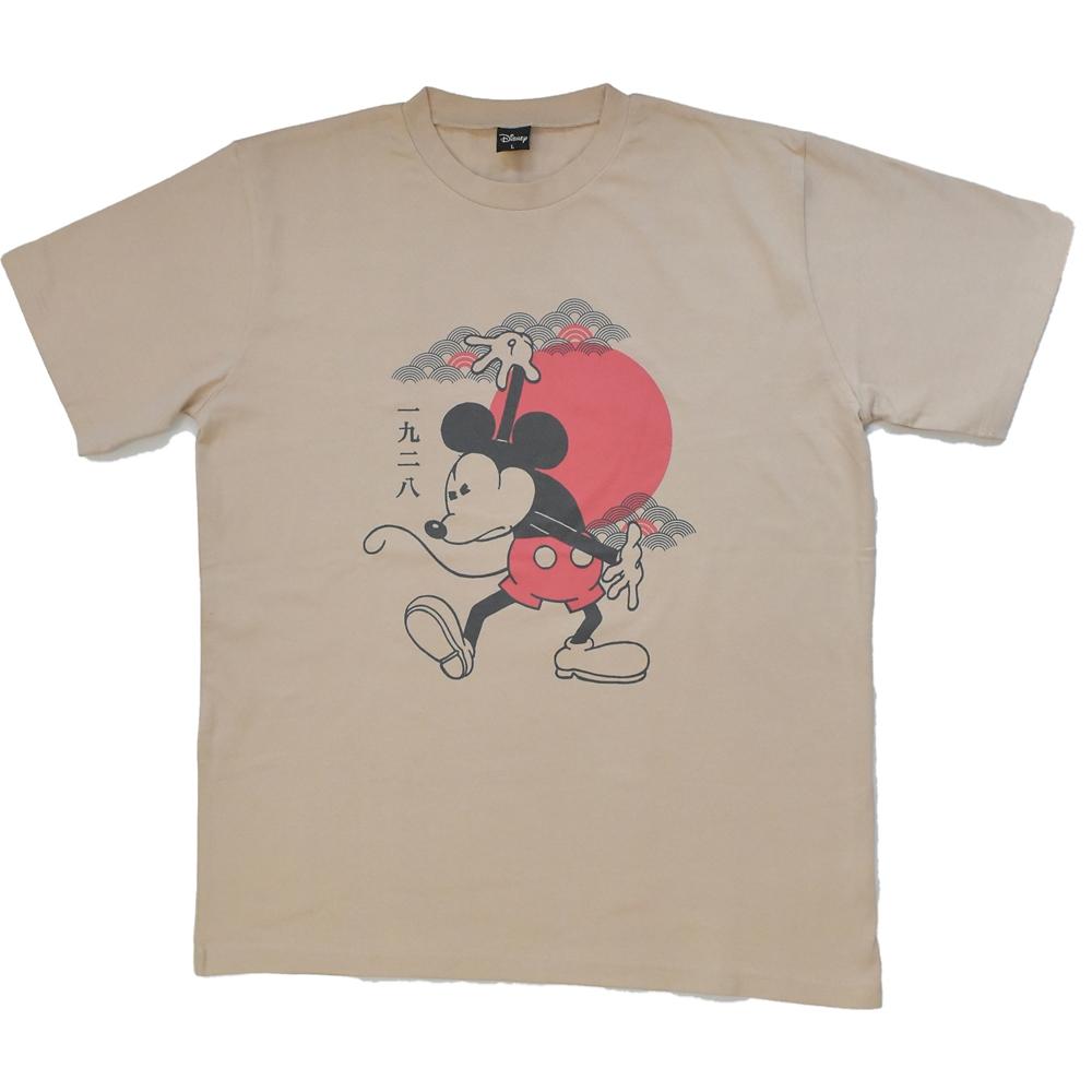 ミッキー日本限定アートTシャツ(ベージュ)