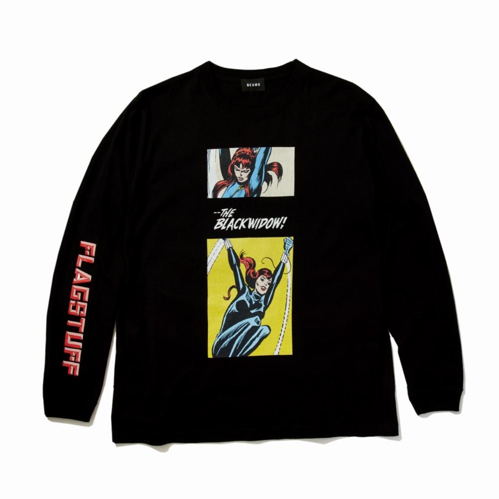 【BEAMS】 FLAGSTUFF L/S TEE BLACK