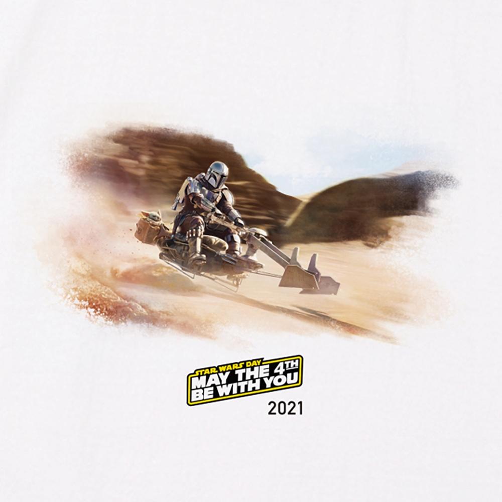 【MAY THE 4TH 限定デザイン】【予約商品】 スター・ウォーズ マンダロリアンホワイトTシャツ(スピーダー・バイク)