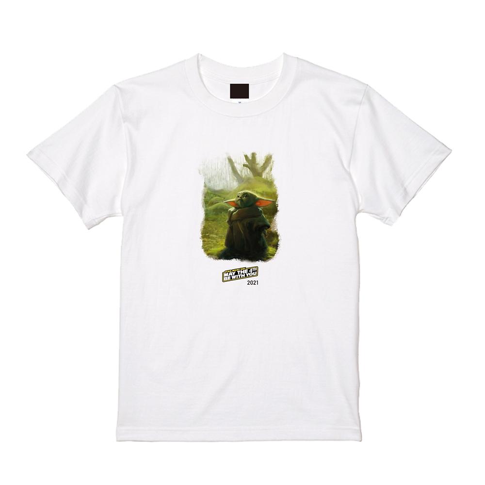 【MAY THE 4TH 限定デザイン】 【予約商品】スター・ウォーズ マンダロリアンホワイトTシャツ(グローグー)