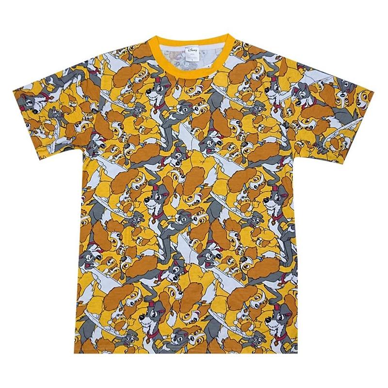 ディズニー わんわん物語 総柄ぎっしり Tシャツ
