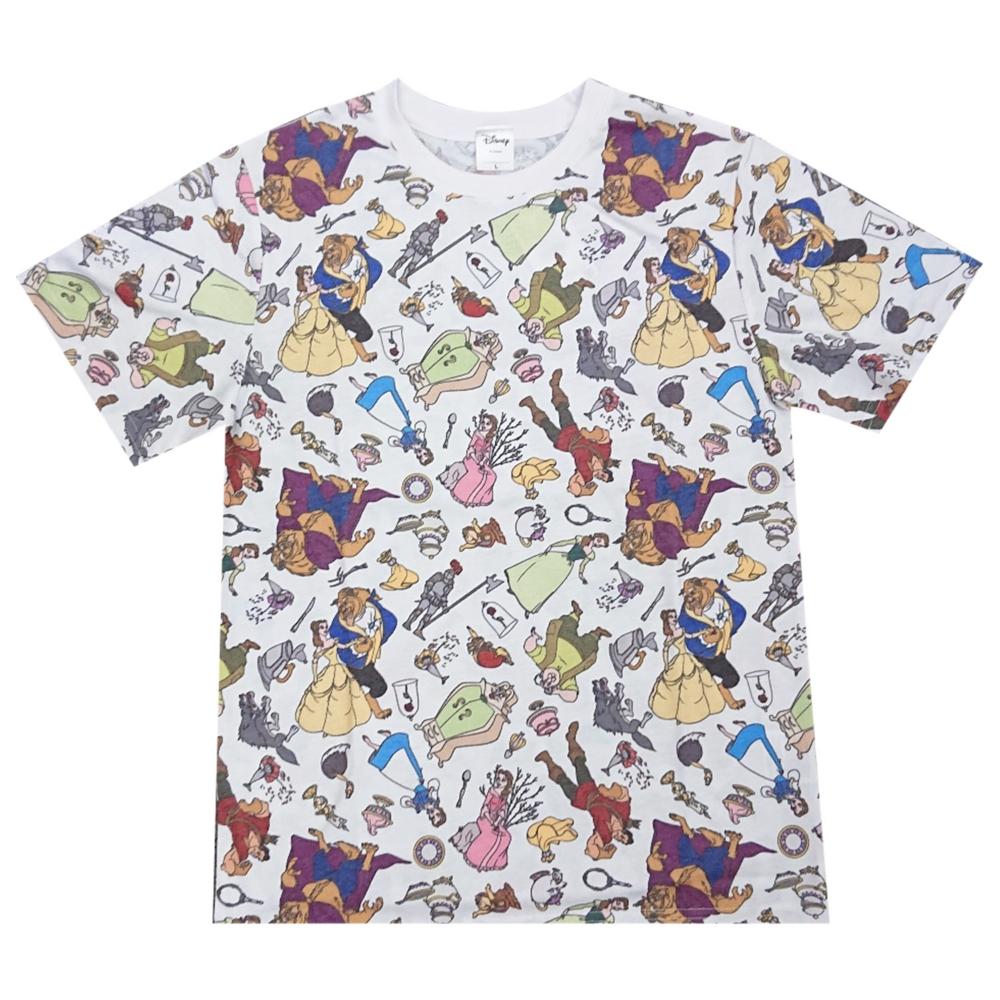 ディズニー 美女と野獣 総柄ぎっしり Tシャツ