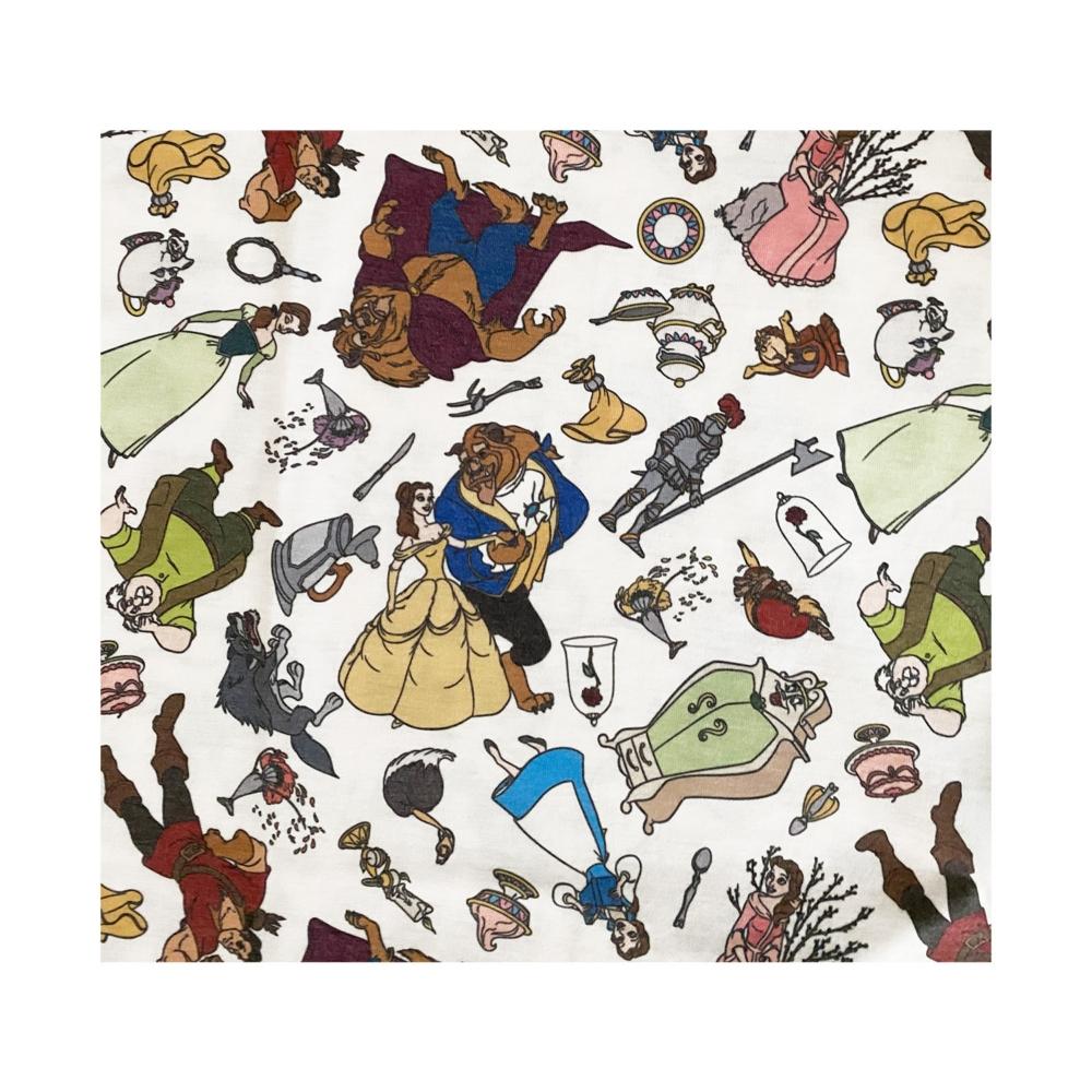 ディズニー 美女と野獣 総柄プリント KIDS Tシャツ (ぎっしり)