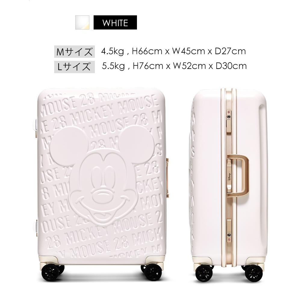 【deseno】ディズニー ミッキーマウス スーツケース 白 アルミフレーム