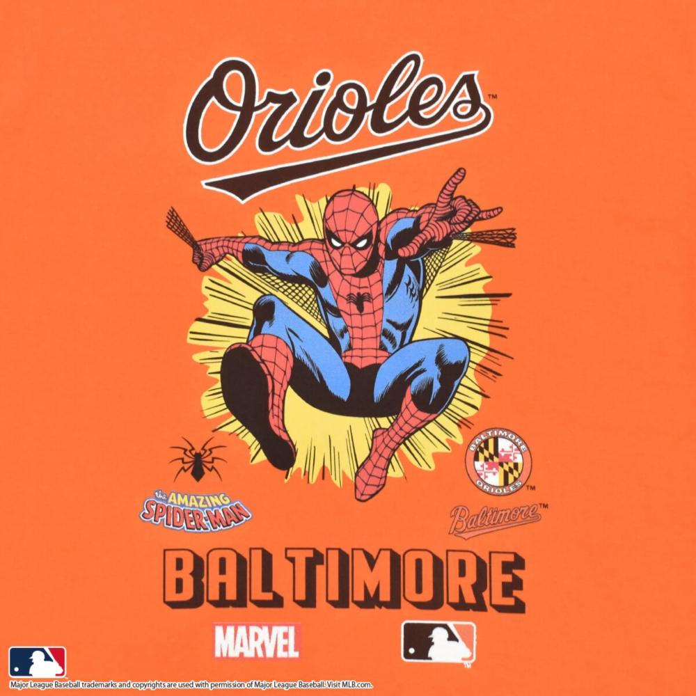 【MARVEL(マーベル)/スパイダーマン】【MLB/ボルティモア・オリオールズ】Tシャツ(PONEYCOMB PLATINUM)
