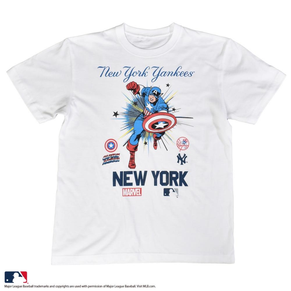 【MARVEL(マーベル)/キャプテン・アメリカ】【MLB/ニューヨーク・ヤンキース】Tシャツ(PONEYCOMB PLATINUM)
