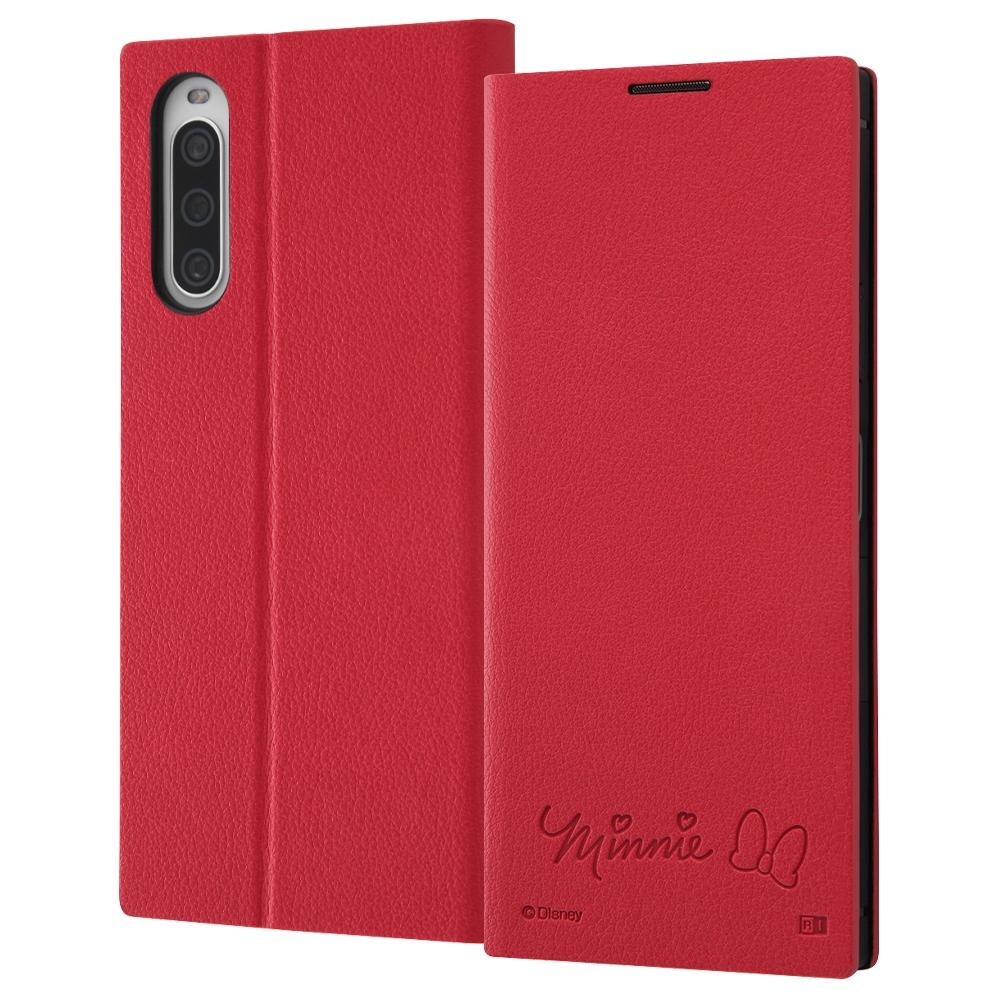 『ディズニーキャラクター』/耐衝撃 手帳型レザーケース  サイドマグネット/ミニーマウス