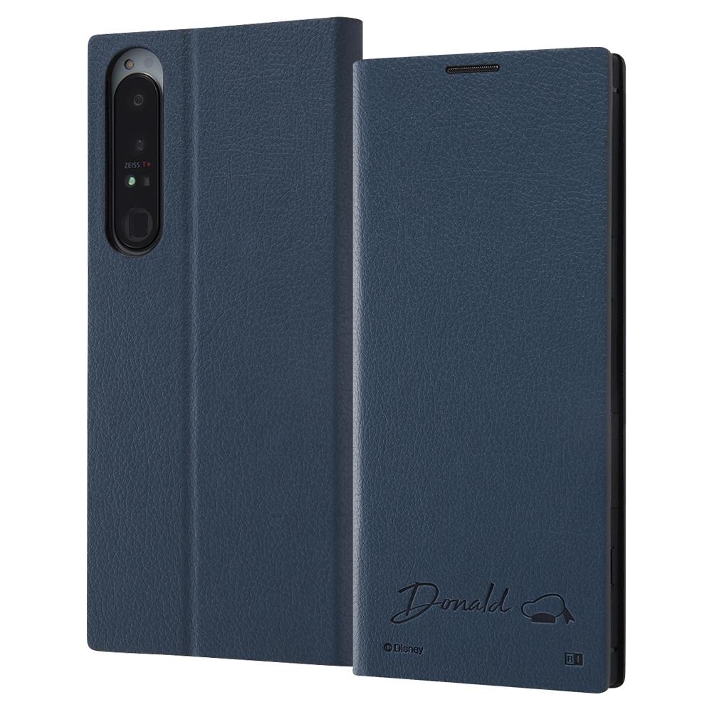 ディズニーキャラクター』/耐衝撃 手帳型レザーケース  サイドマグネット/ドナルドダック