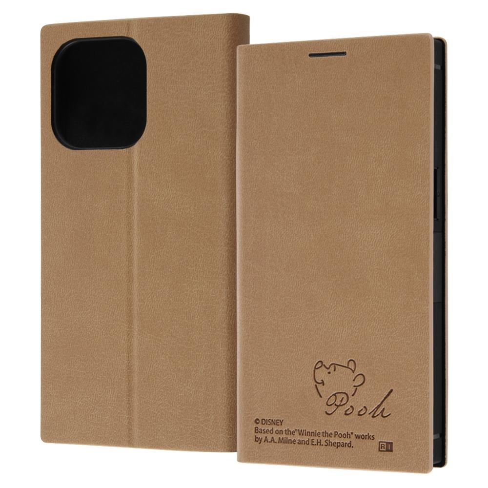 『ディズニーキャラクター』/耐衝撃 手帳型レザーケース  サイドマグネット/プー