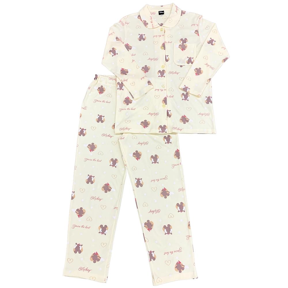 ミッキー 総柄スムースニットシャツパジャマ