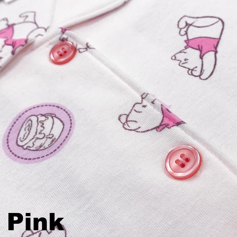 プー 総柄スムースニットシャツパジャマ