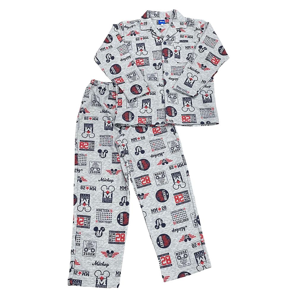 ミッキー キッズ用キルトアイコン総柄シャツパジャマ