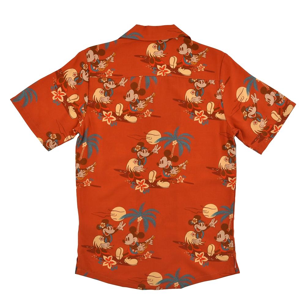 【送料無料】ミッキー&ミニー 半袖シャツ アロハシャツ風 Paradise Hawaiian